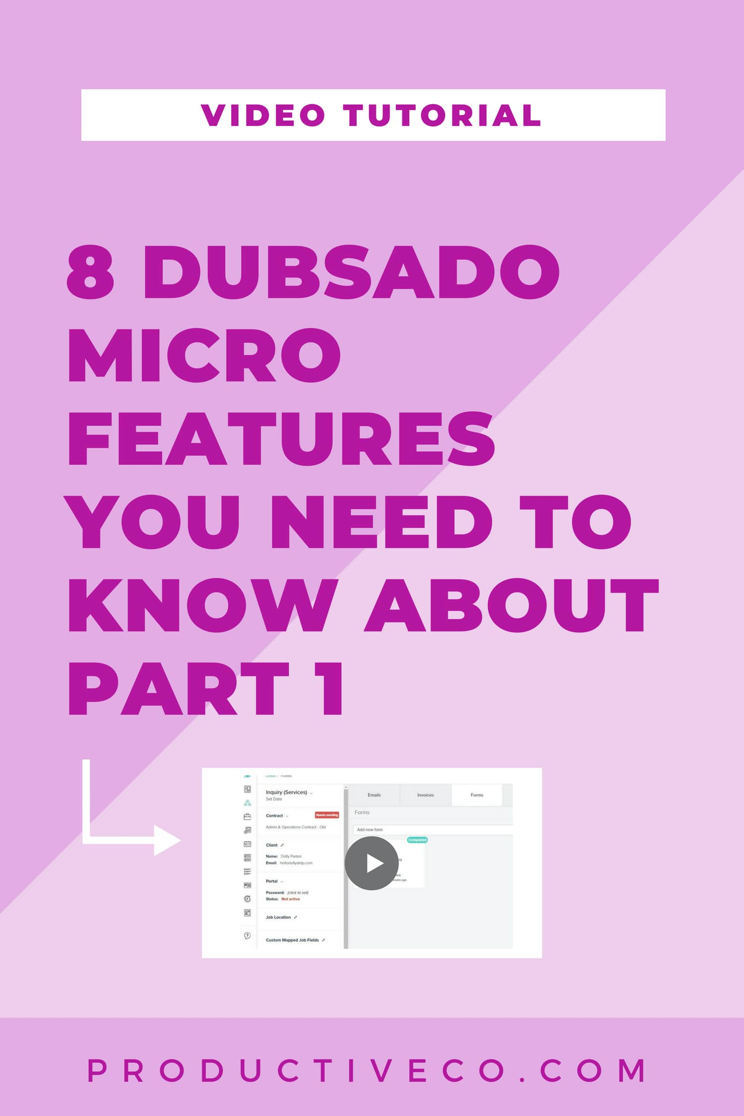 Dubsado features include: email read receipts, lead capture re-directs, allow for tips, client portals, and more.