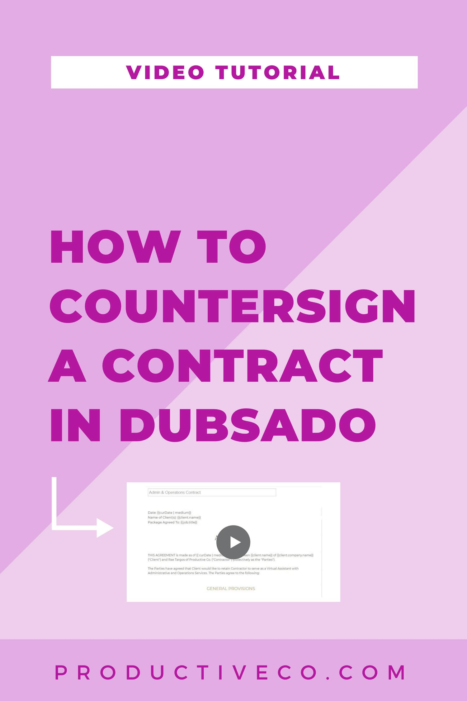 How to countersign a contract in Dubsado in 15 seconds or less.