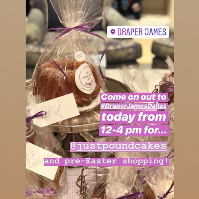 Hop on over to @draperjames instastory today!! So excited to be in it! #justpoundcakes #draperjamesdallas