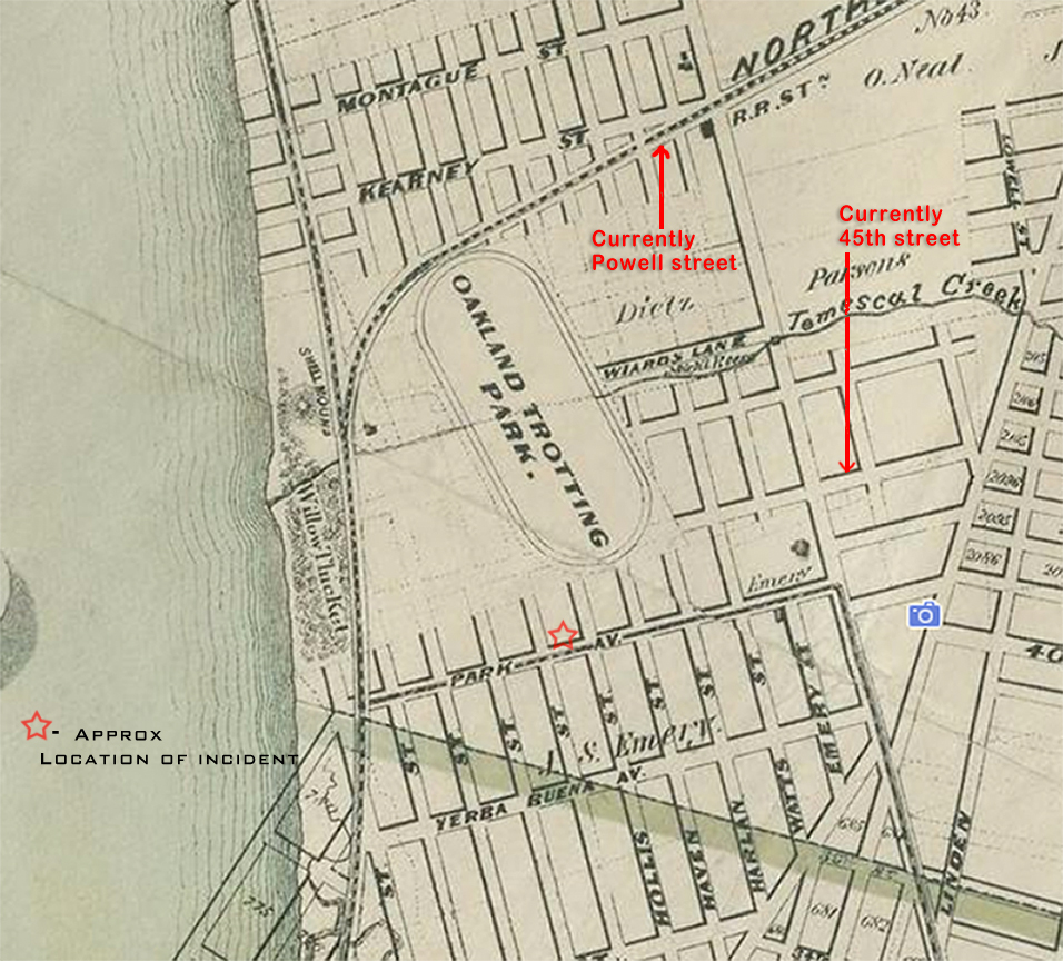 Location of Dennis Cronin murder in Emeryville (late 1800's map)