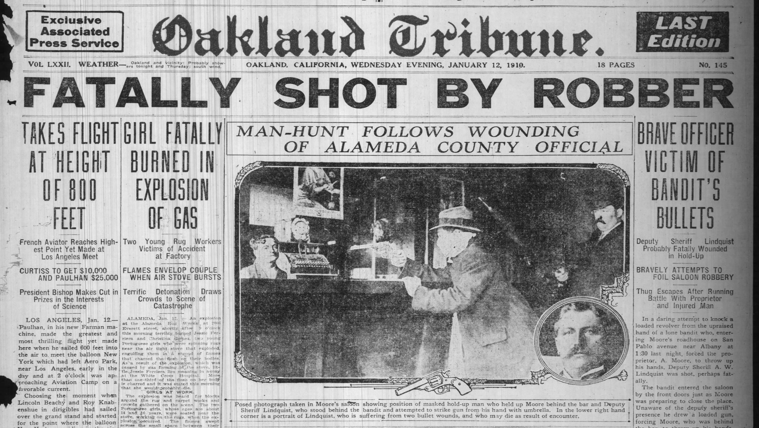 The front page included a reenactment photo of the incident