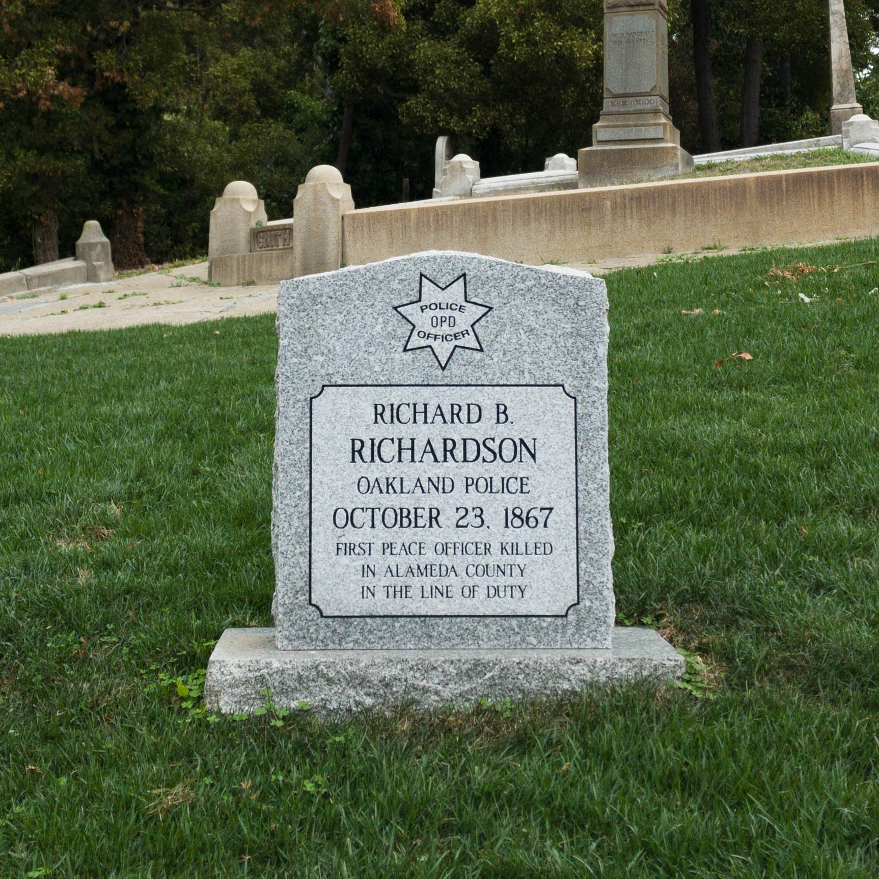 Mountain View cemetery, in honor of Richardson and in preparation for the Dedication, worked to resod the area surrounding Richardson's marker