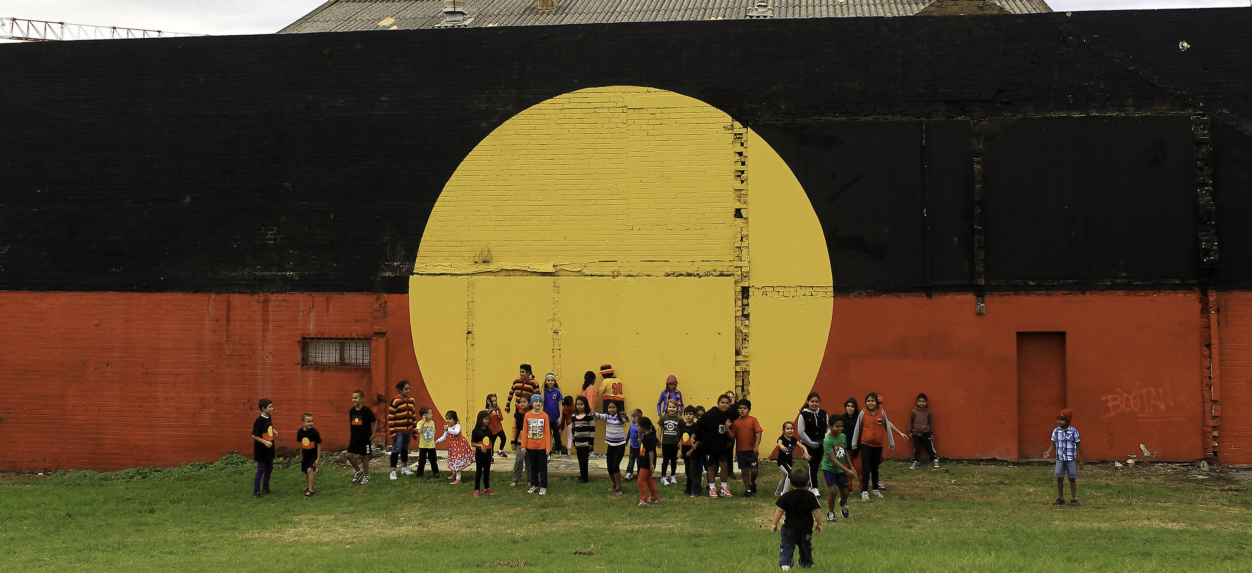 The Aboriginal flag, Red, Black and Yellow in Redfern. proud of culture