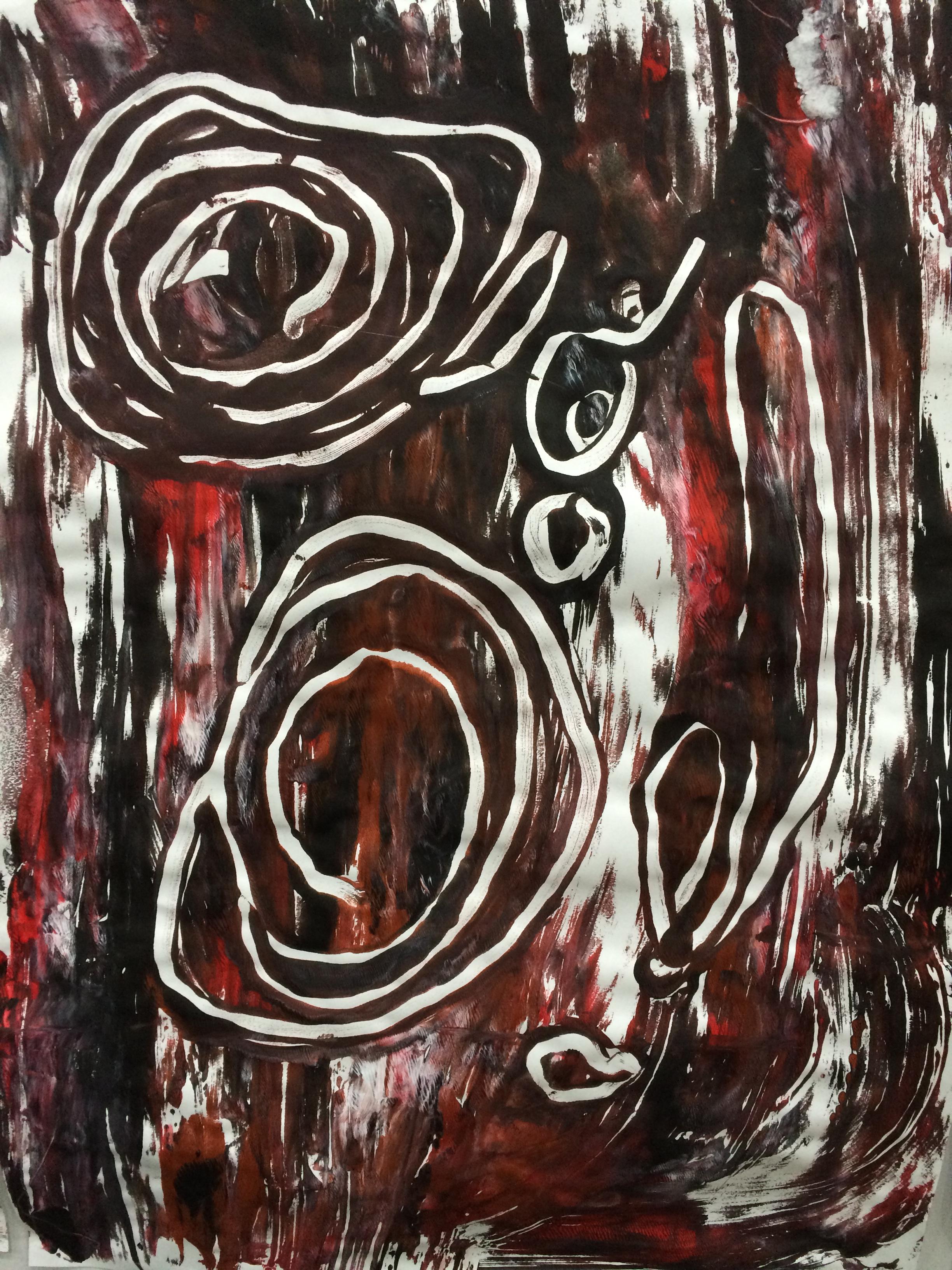 Aboriginal inspired art work by preschool children