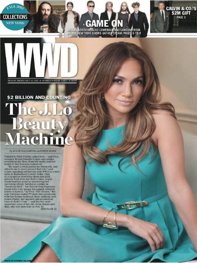Jennifer Lopez Collection Dress, cover of WWD. Piece designed by Lacie Thorne.