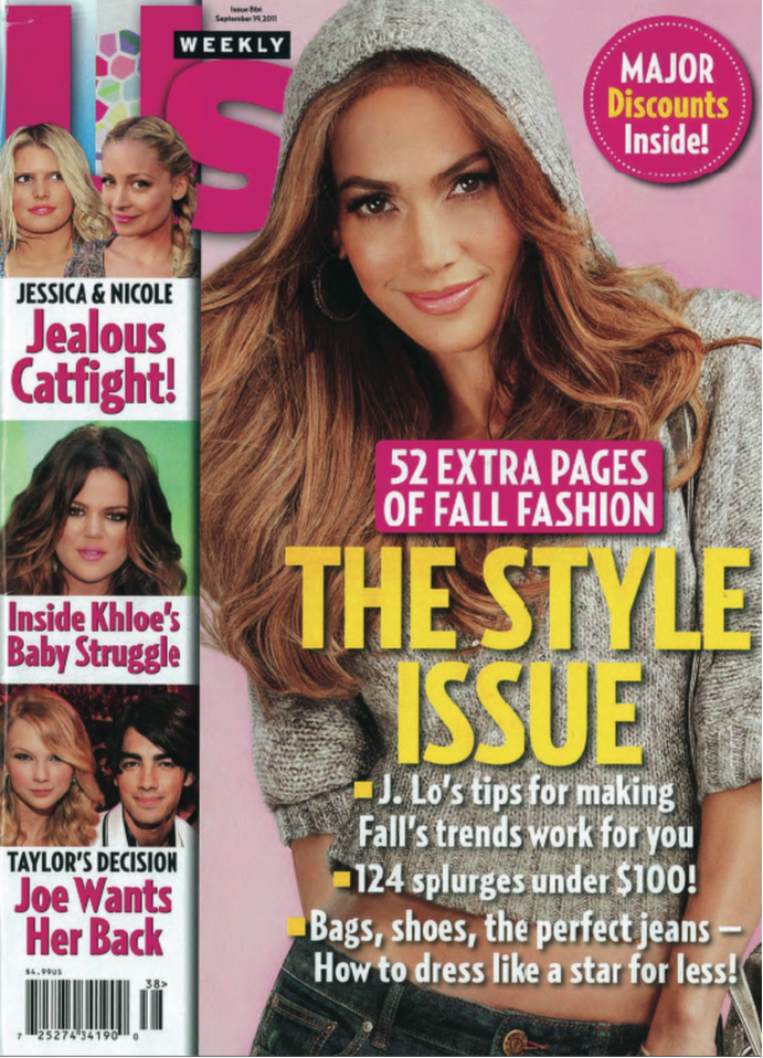 Jennifer Lopez Collection knitwear, cover of Us Weekly. Piece designed by Lacie Thorne.
