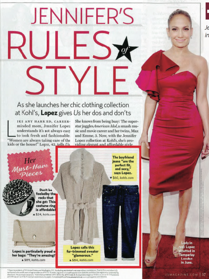 Jennifer Lopez Collection Editorial, US Magazine. Highlighted pieces designed by Lacie Thorne.