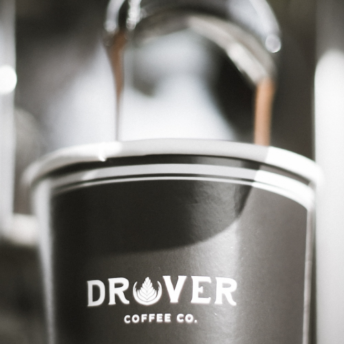 Close up of Drover coffe cup