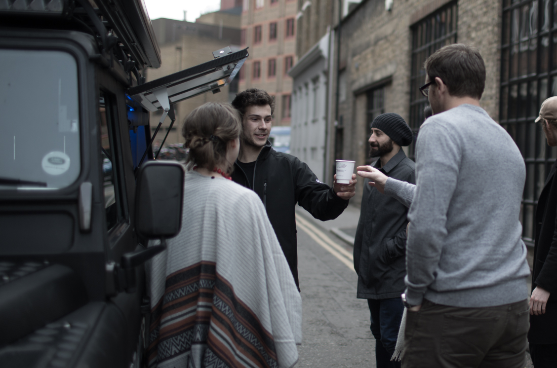 Drover coffee serving in people in the street