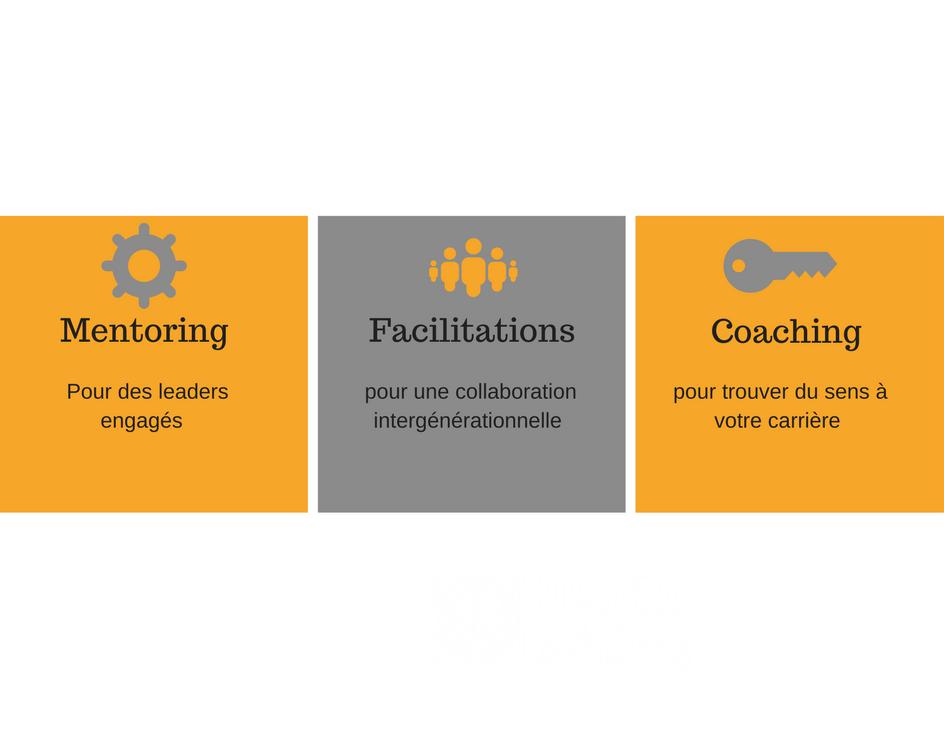3 services différents, coaching, mentoring, facilitations