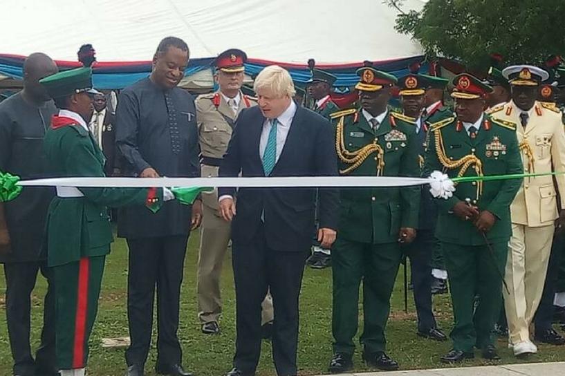 Boris Johnson at the Abuja Memorial in 2017