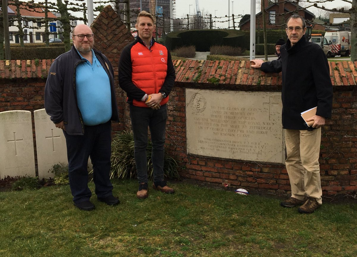 Peter Francis, Lewis Moody and Martin Fletcher at Zeebrugge Memorial