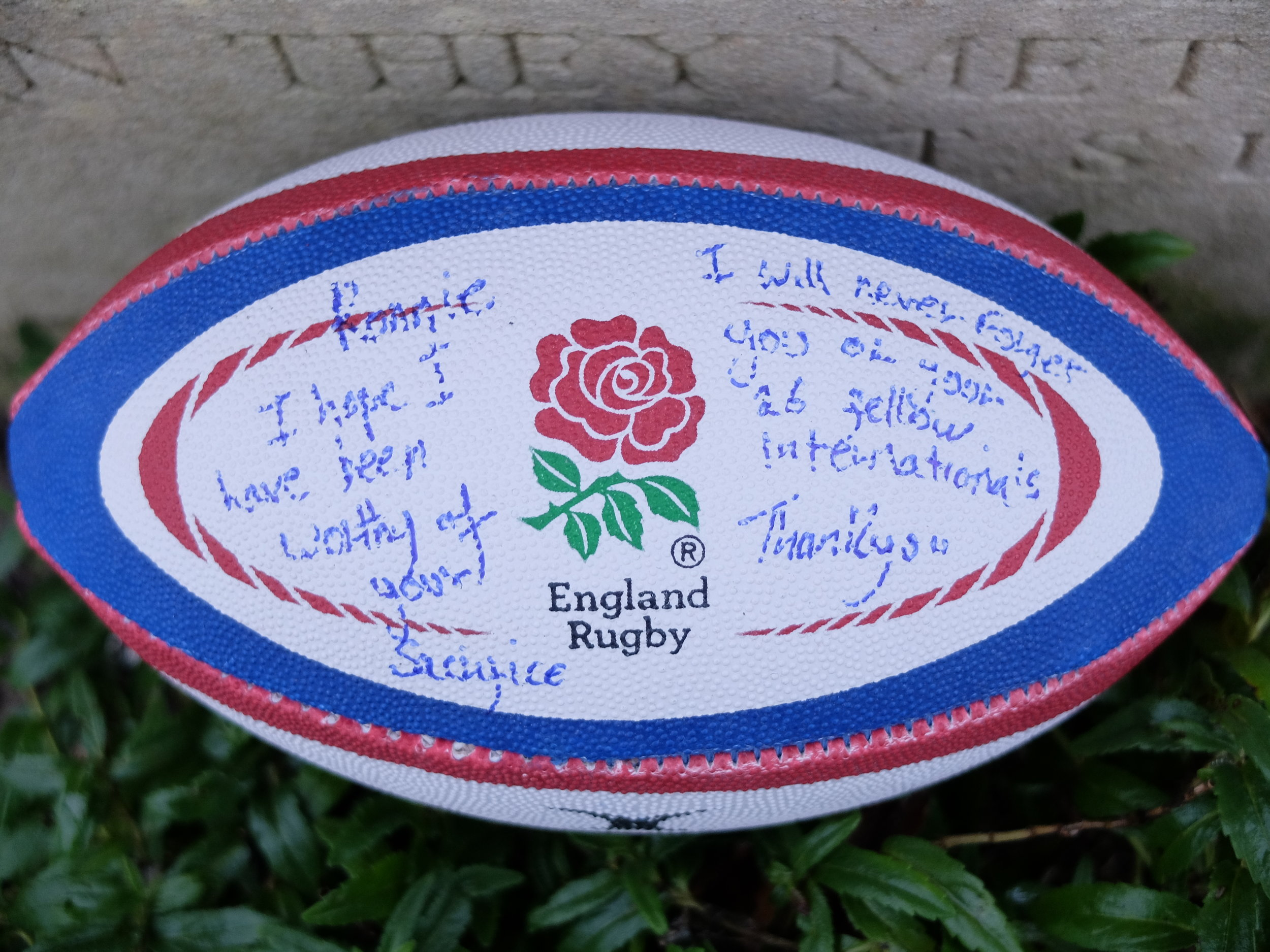 Personal message left by Lewis at the grave of former England Rugby Football Captain Ronald Poulton Palmer in Hyde Park Corner (Royal Berks) Cemetery, Belgium