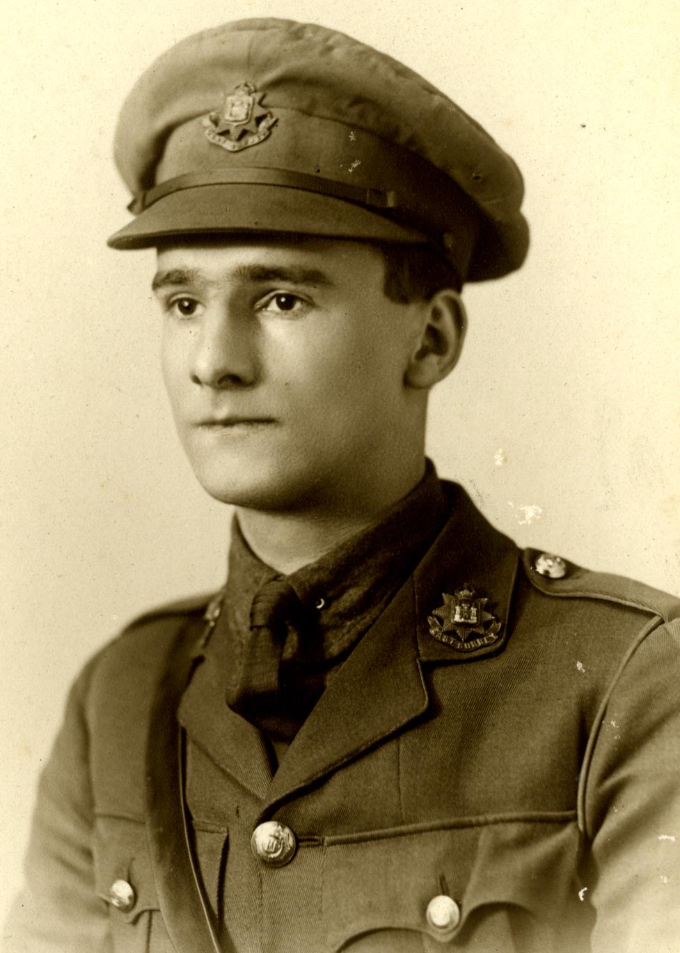 Sherriff wearing his East Surrey Regiment uniform, c.1917 . By permission of Kingston Grammar School and Surrey History Centre.