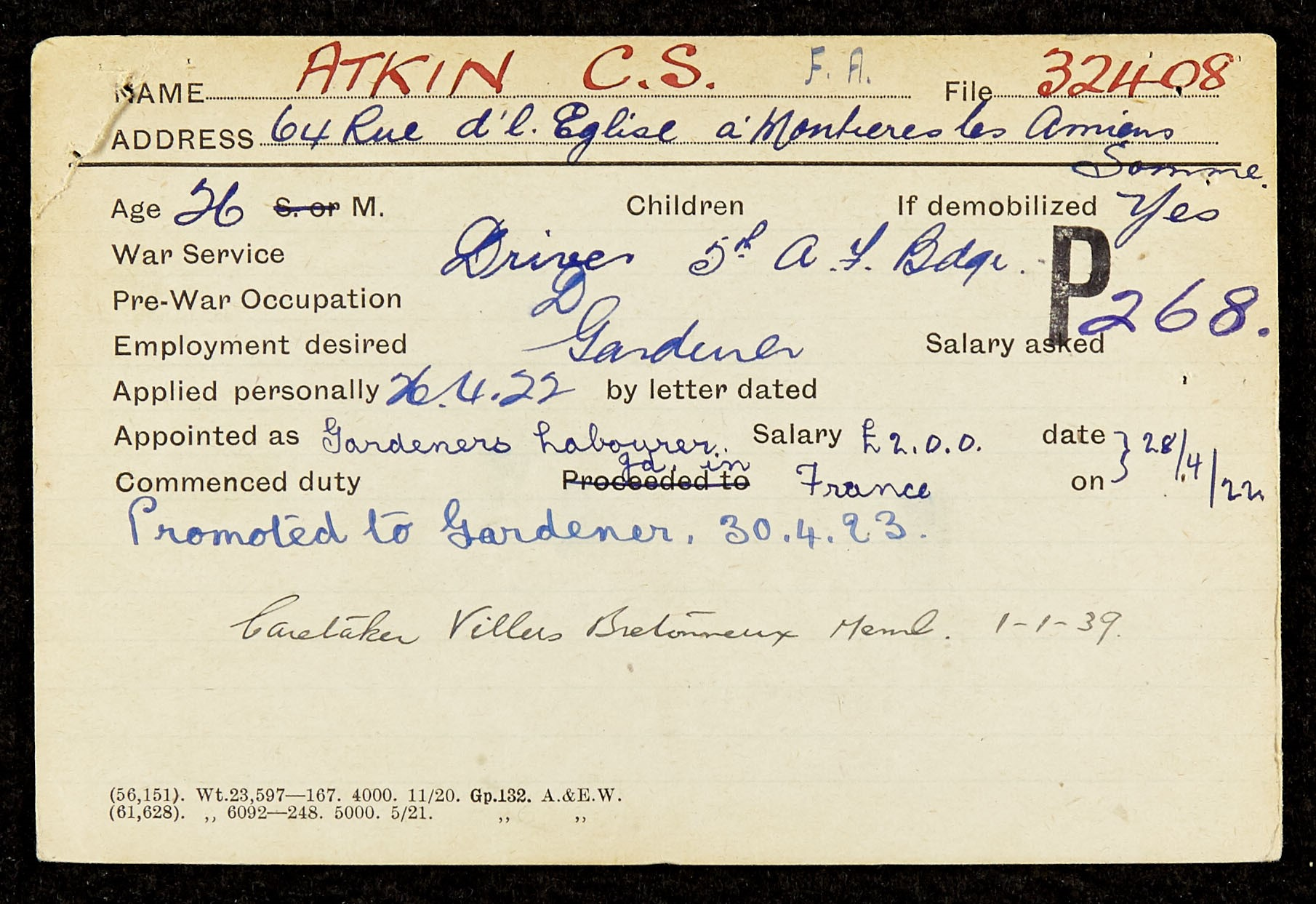 Part of Atkin's service record from the Commonwealth War Graves Commission.
