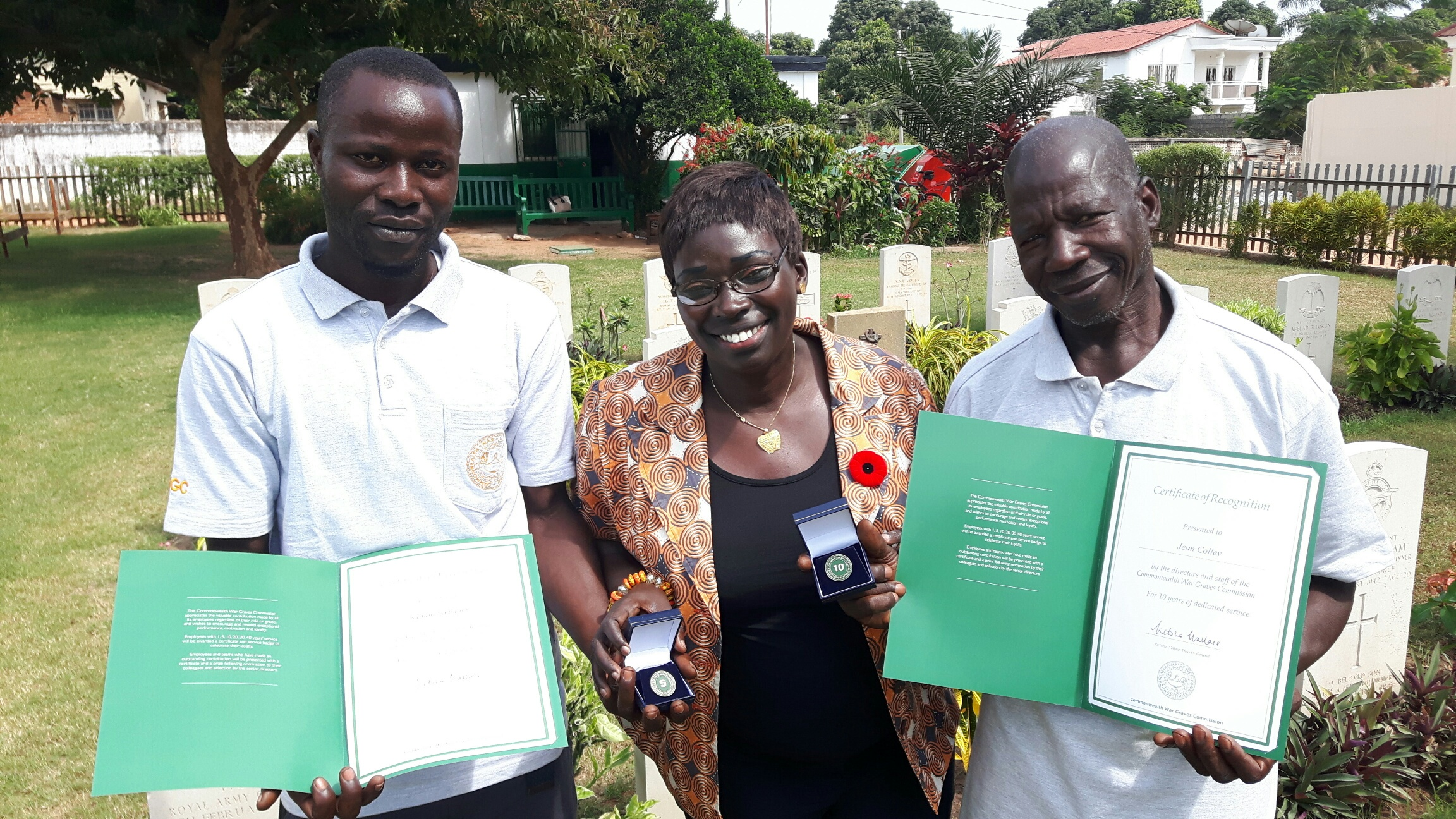Jean Paul and Saihou receiving their awards in Gambia