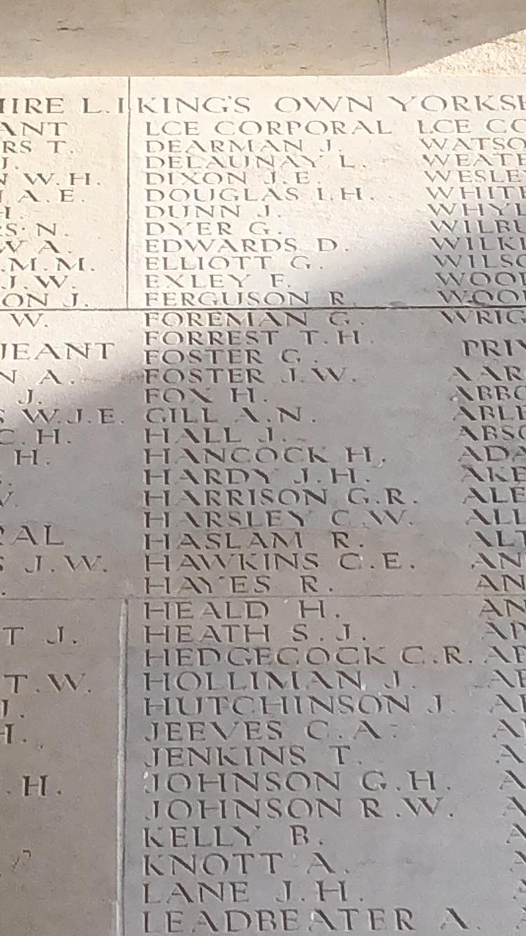 Lance Corporal Henry Hardy's name is on Pier and Face 11C of Thiepval Memorial