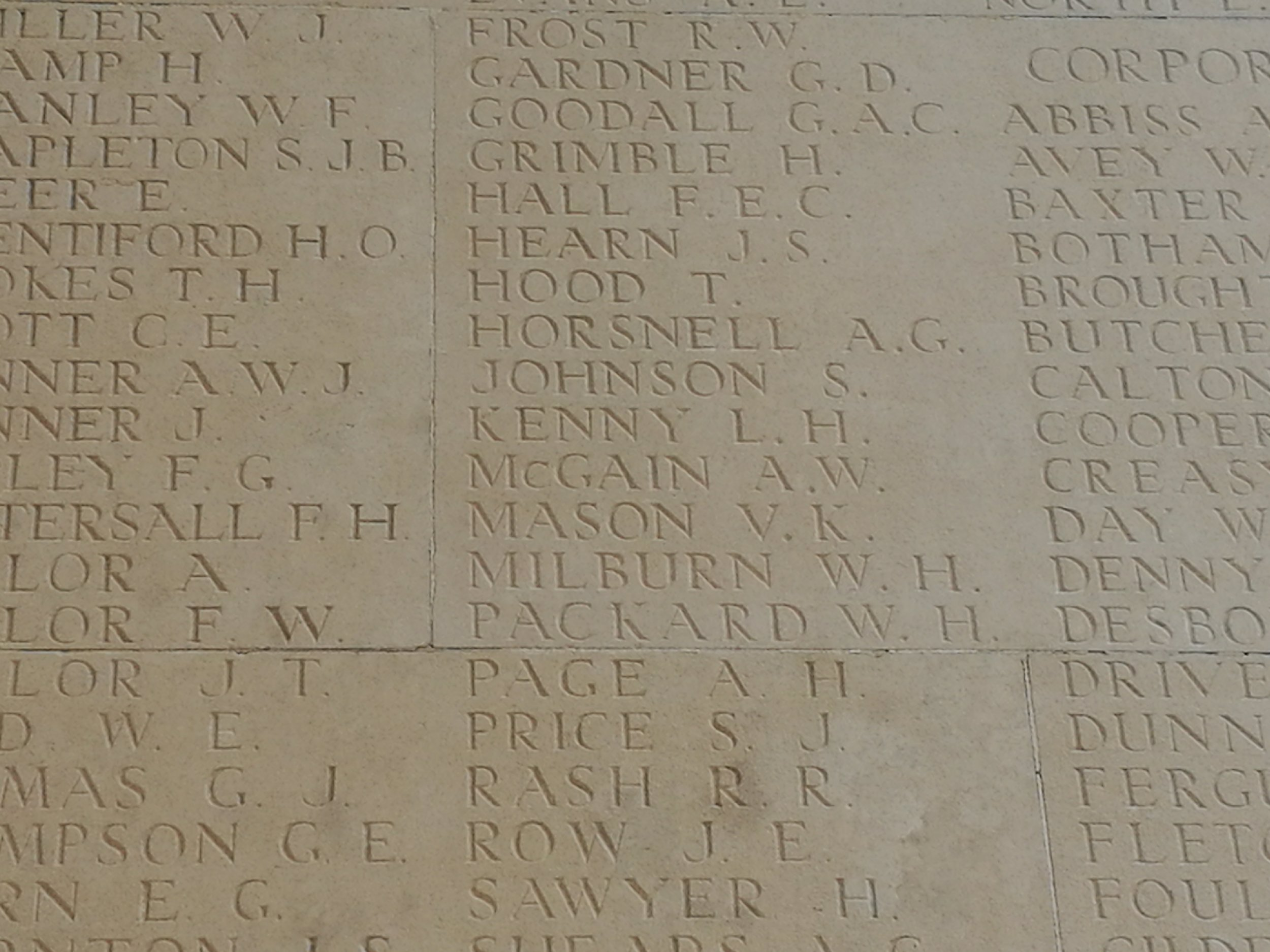 Ashley McGain's name is on Pier and Face 1C of Thiepval Memorial