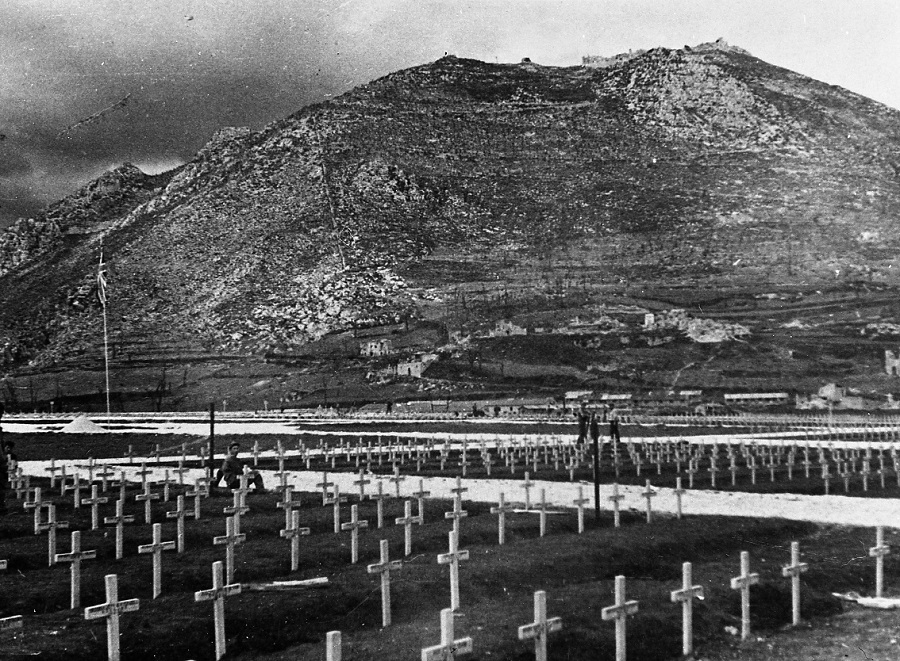 Wooden crosses at Cassino War Cemetery