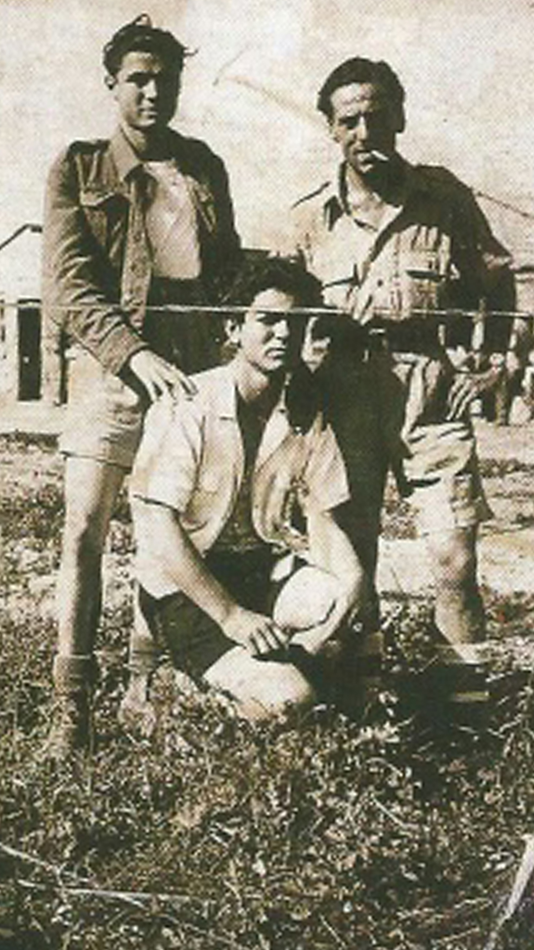 Joe on right, with two Italian workers