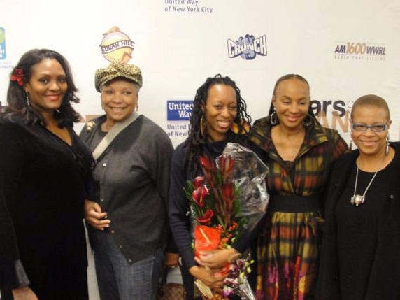 Left to right, 1st Annual Stars Dancing Star Kym hampton, guest audrey smaltz, founder & executive producer Cheryl todmann, 2nd annual stellar humanitarian honoree susan L. taylor, and special guest judge terrie m. williams.