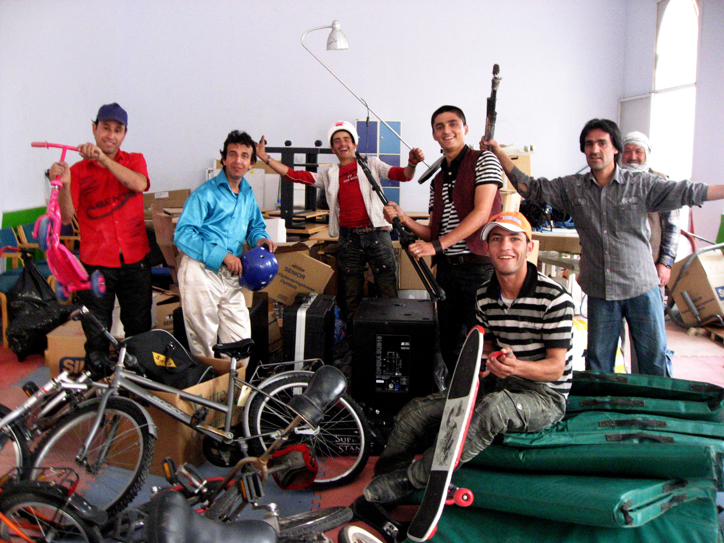 Mini Mobile Circus For Children. Collected goods for the MMCC in Kabul, 2010
