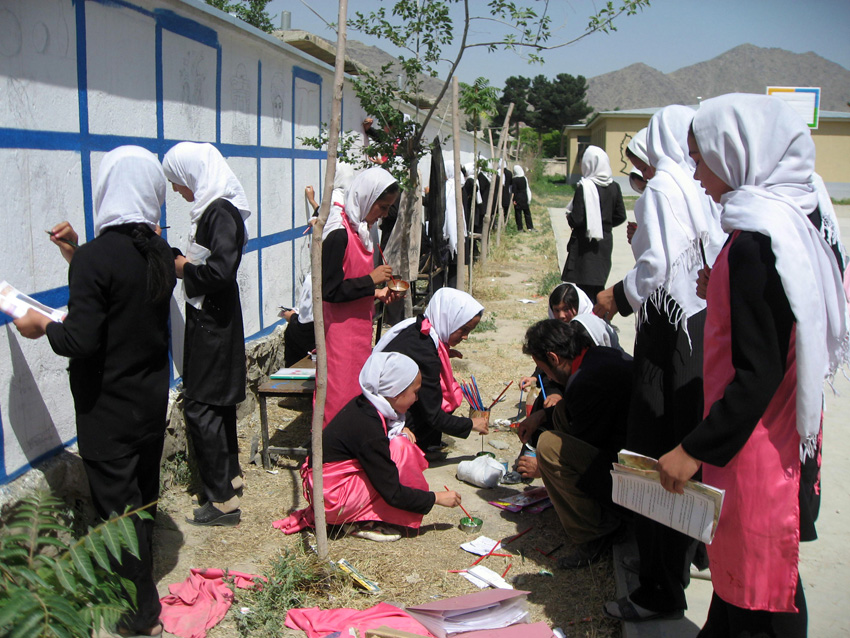 Mini Mobile Circus For Children. Decorating a 70 meter wall at Roxana girls school in Kabul, 2010