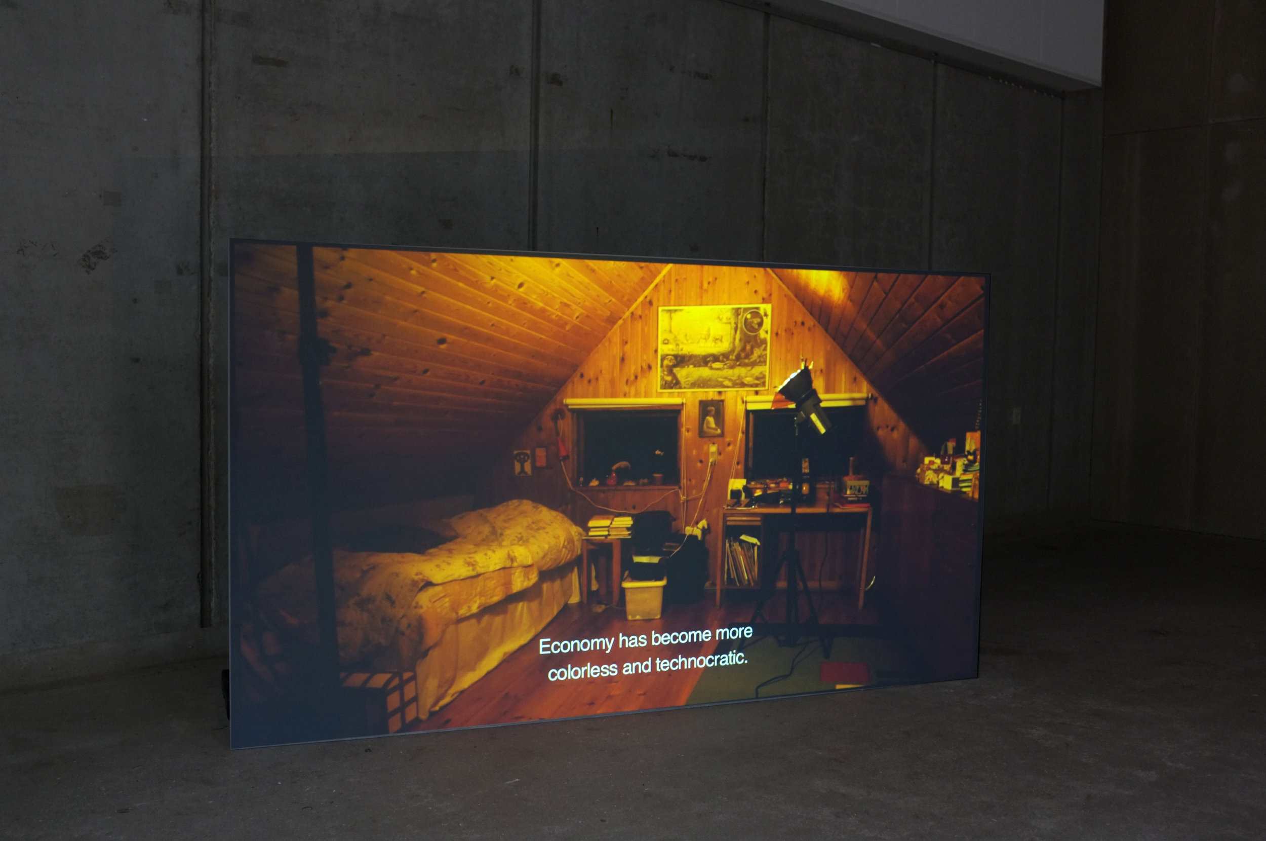 "Rebecca's System. ""Rebecca's System"", HD Video, 21'00"", Installation view Godsbanen, Aarhus, 2016"