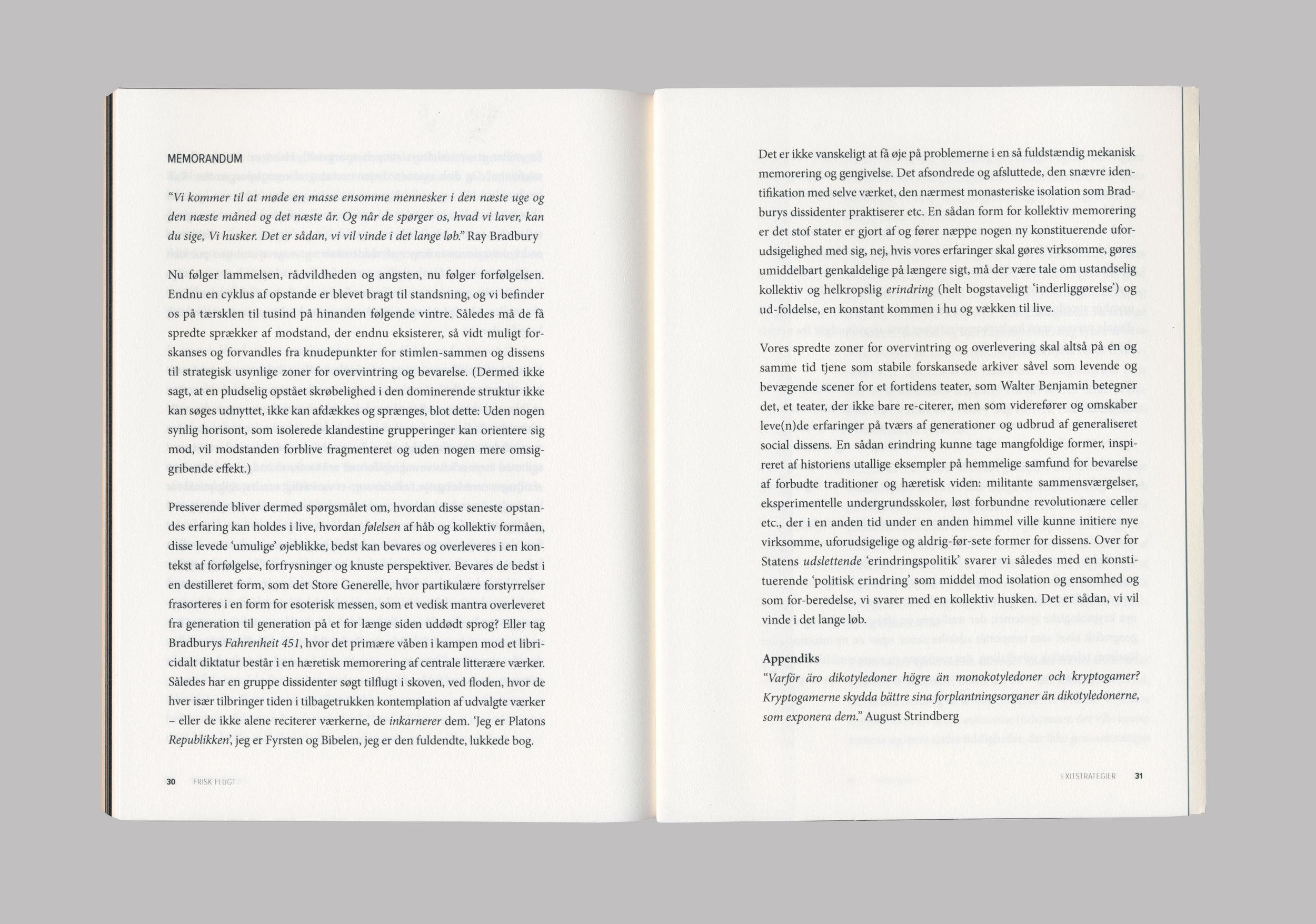 Frisk Flugt - Exitstrategier. Spread. Published on Ovo Press, 2017