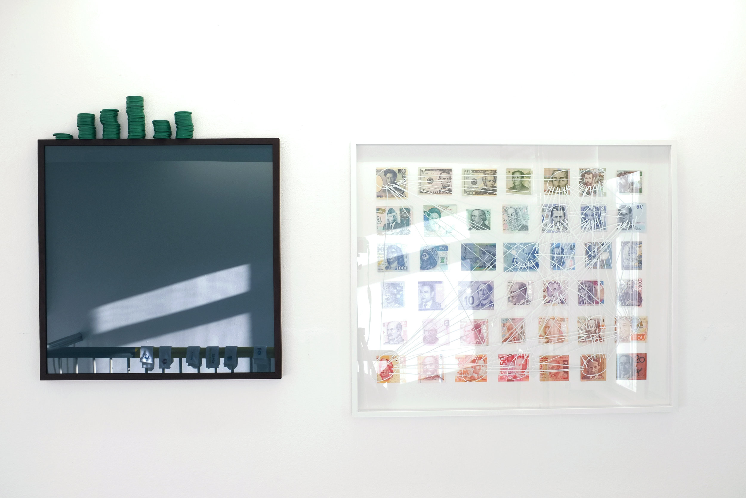 """Rebecca's System. """"Monday is Green (Great Job)"""", Colored Paper, Tokens +  """"Sunday is White (Collector's Cut)"""", Cut money bills, Acrylic paint,  2016"""