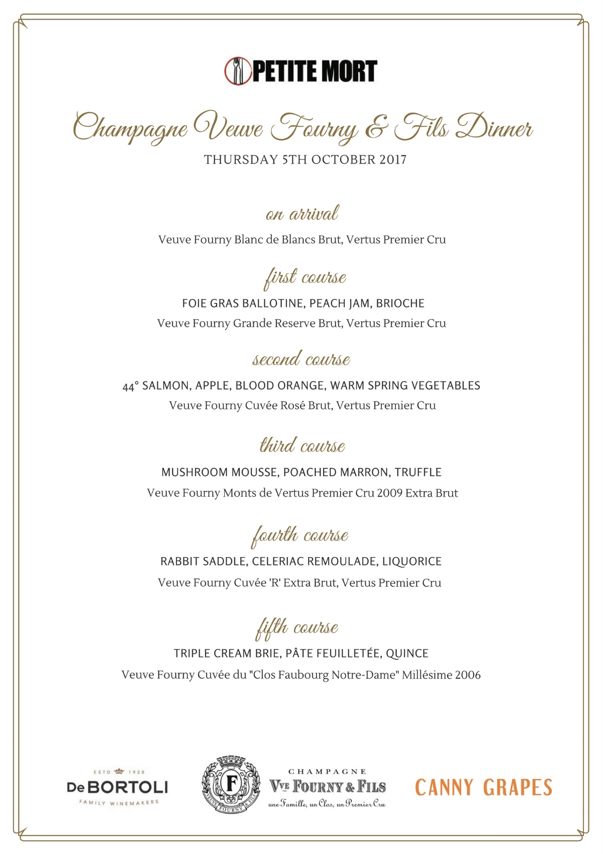 Veuve Fourny and Fils Dinner at Petite Mort