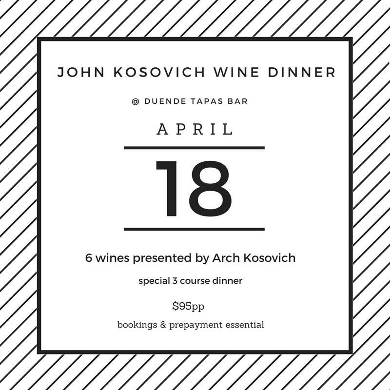 Duende John Kosovich Wine Dinner