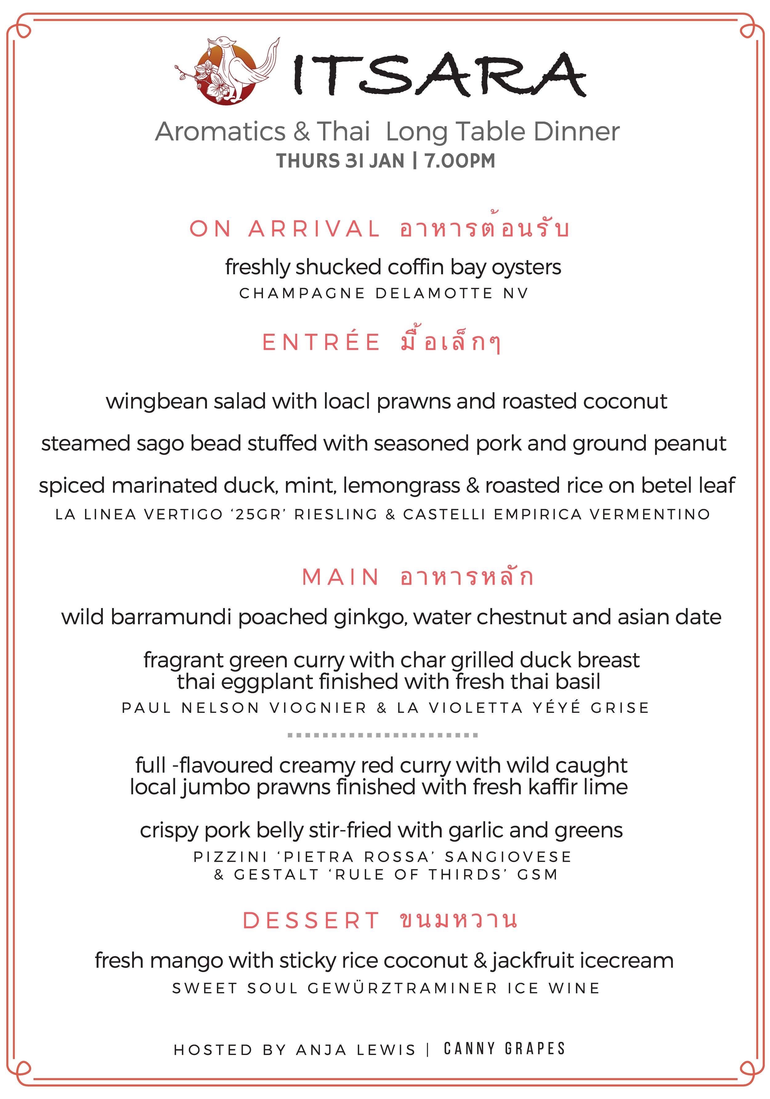 Itsara & Canny Grapes Aromatics and Thai Long Table Dinner Perth