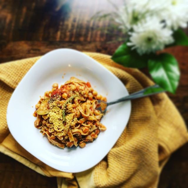 Sometimes you just have to put the leftover ratatouille on some homemade pasta and throw in some @eatgrain chickpeas for good measure. Having 'fast food' in the freezer can help you eat nutritious food even when you don't want to cook. Beans, brown rice and veggies are a great start!  #replenishnutrition #eatwelllivewell #delicious #vegan #vegetarian #wholefoods #plantbased #nomnom #homemadefood #plantpowered #fromscratch