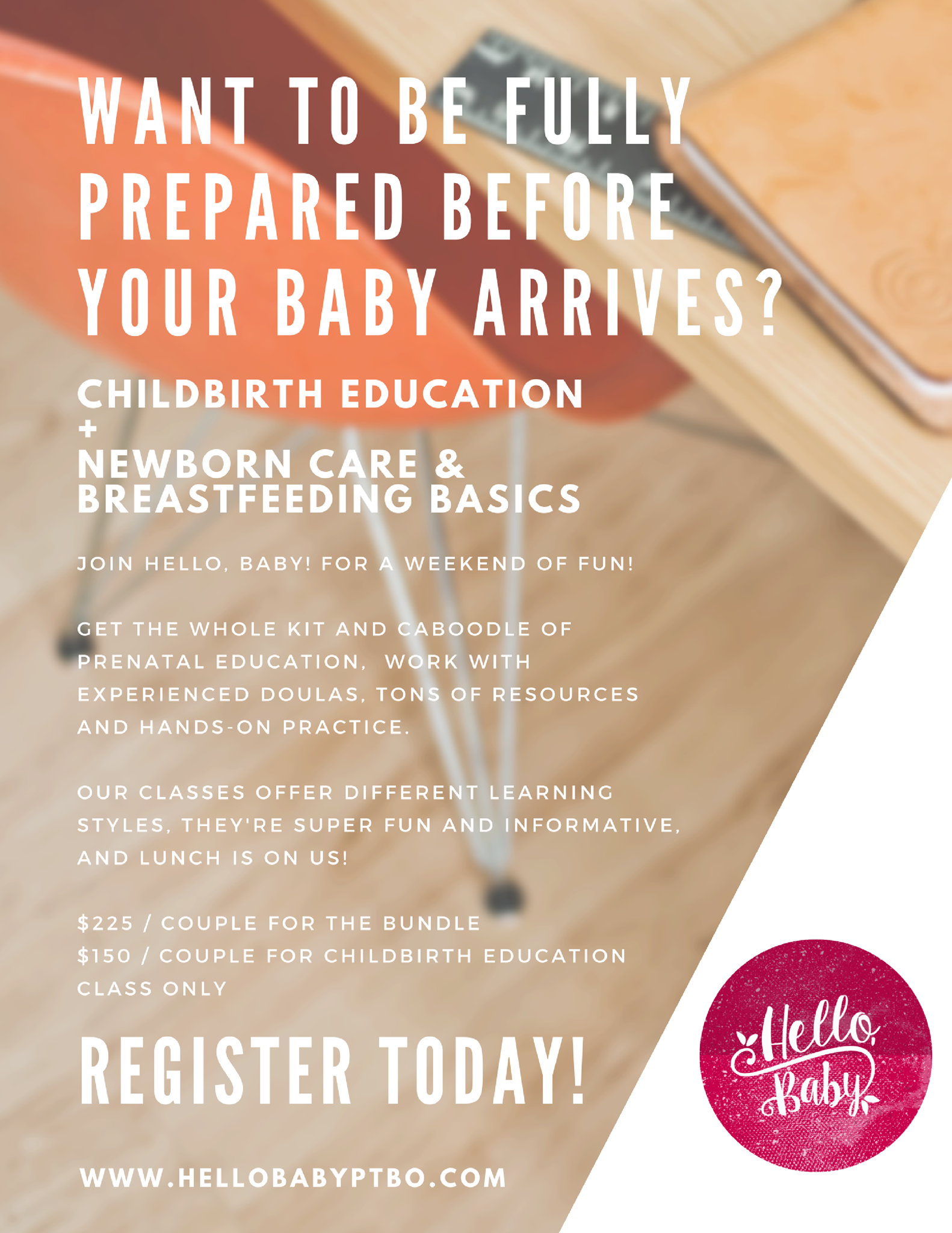 Register for your Childbirth Education Class alone or in a bundle with our Newborn Care & Breastfeeding Basics class!  Get prepared from bump to baby.