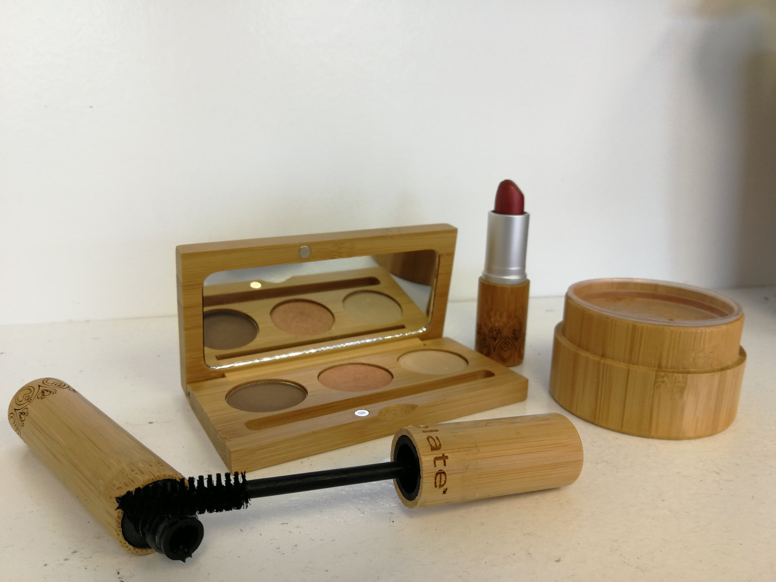Some of the beautiful ELATE Cosmetics line in the Hello, Baby! shop, downtown Peterborough. From left to right: Elate Essential Mascara, Bamboo Trio Palette, Elate Cream Lipstick, Goddess Glow Bronzer.