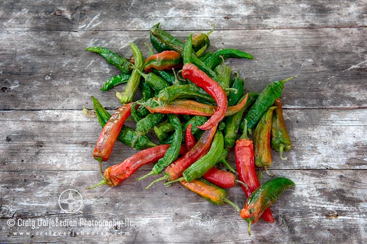 Red & Green Chile Peppers, Ranchos de las Golondrinas, New Mexico 2014. Photograph ©Craig Varjabedian