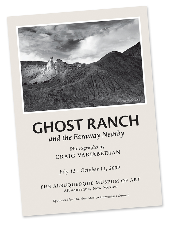 Exhibition Invitation, Ghost Ranch and the Faraway Nearby, Albuquerque Museum of Art, 2009