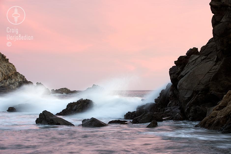 Crashing waves at Pfeiffer Beach, Big Sur Coast, California