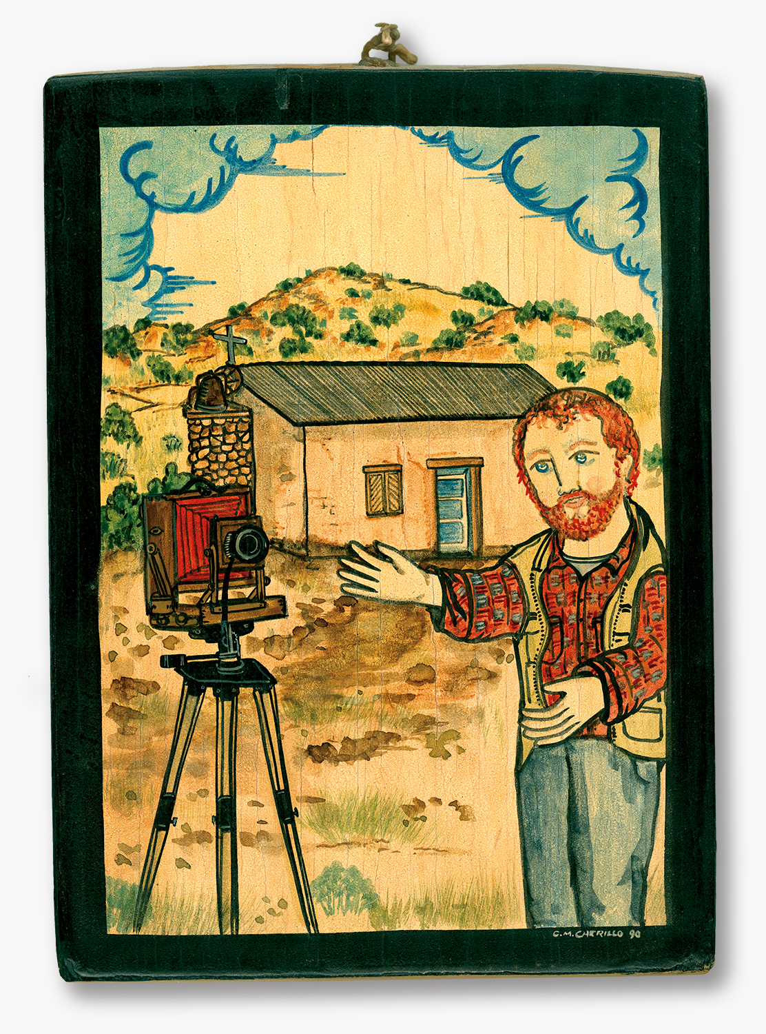 Hand-painted Retablo of the Photographer by Charles M. Carrillo