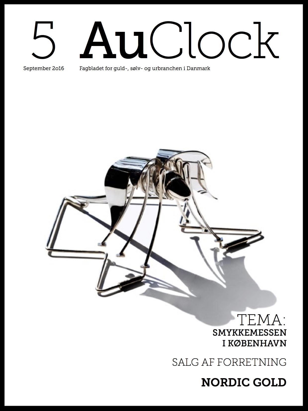 Forsiden af AuClock, september 2016. Tekst og grafik af art director  Lise Hougs Östberg