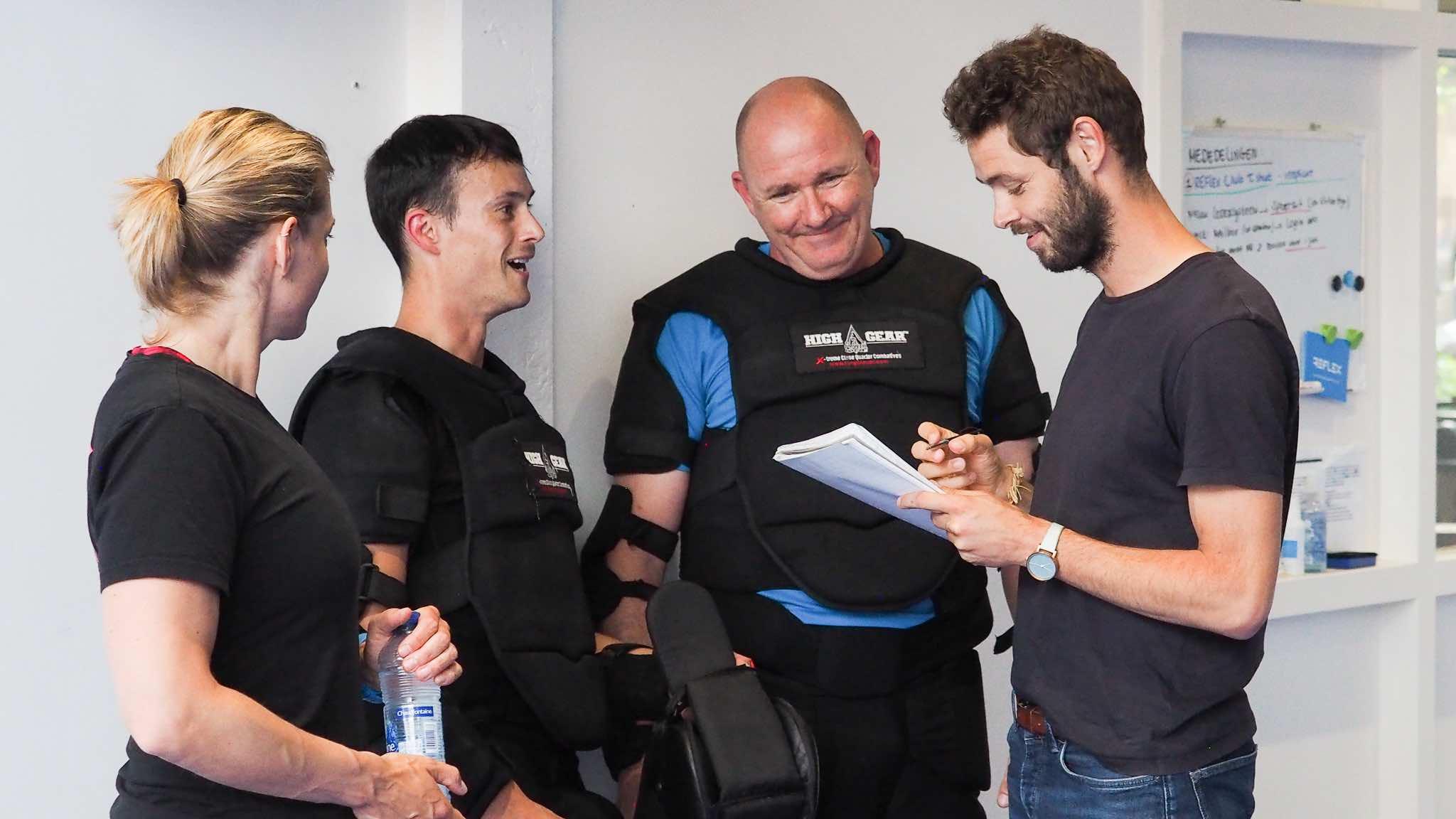 "NRC Sport Journalist Dennis Bokshoorn during our JUNO Basics exam day. Interviewing our ""bad guys"" Tim and Istvan."