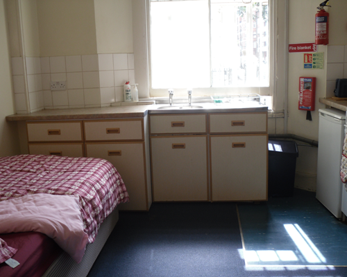 Single bedsit room, which is like a studio flat. The room has its own cooking facilities as well as all the facilities in a single room.