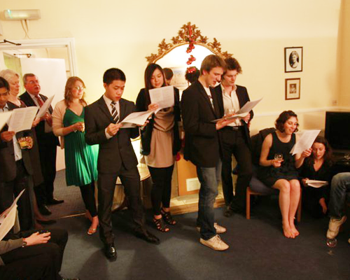 Carol singing at our Christmas party 2010.