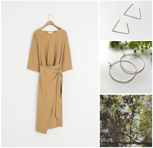 """Orchha Jewels gold filled triangle threaders, 1.5"""" hammered sterling silver hoops   Mustard wrap dress @Olive clothing"""