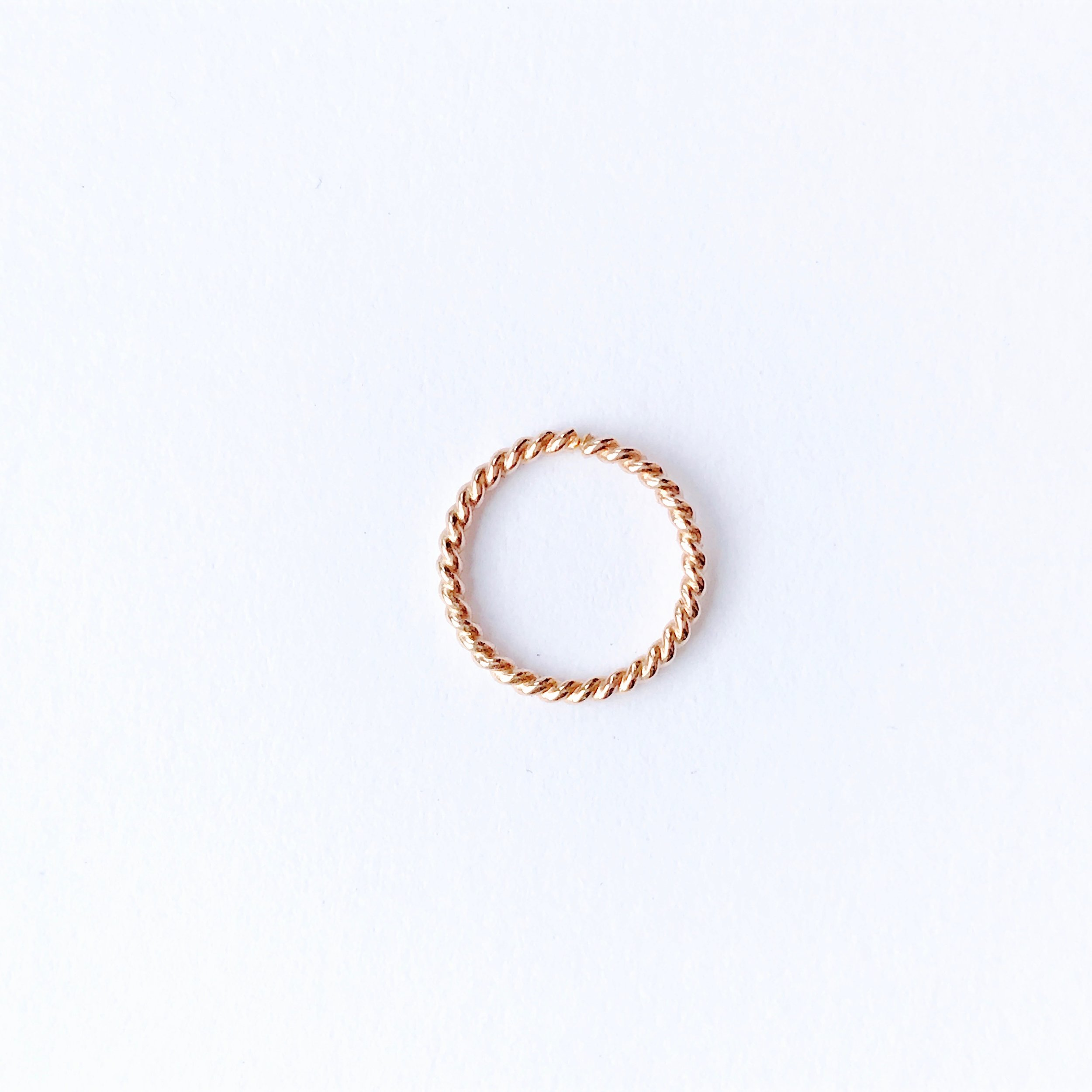 14k rose gold twist pattern hoop - 10mm diameter