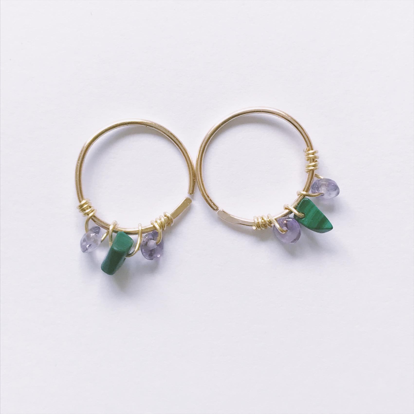 NEW Malachite & amethyst hoops is available to order now