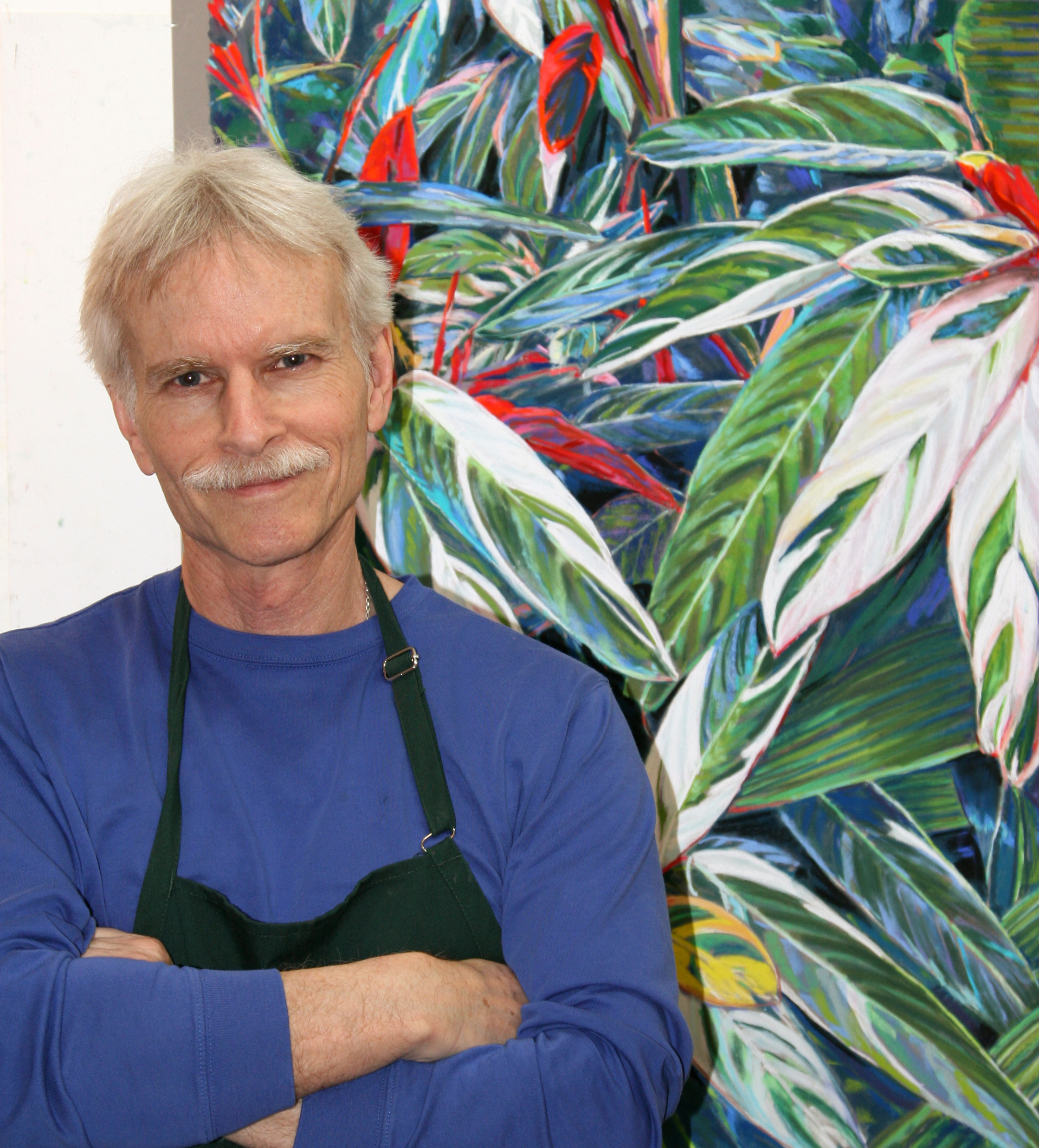 Nick Payne with one of his paintings, Stromanthe sanquinea.
