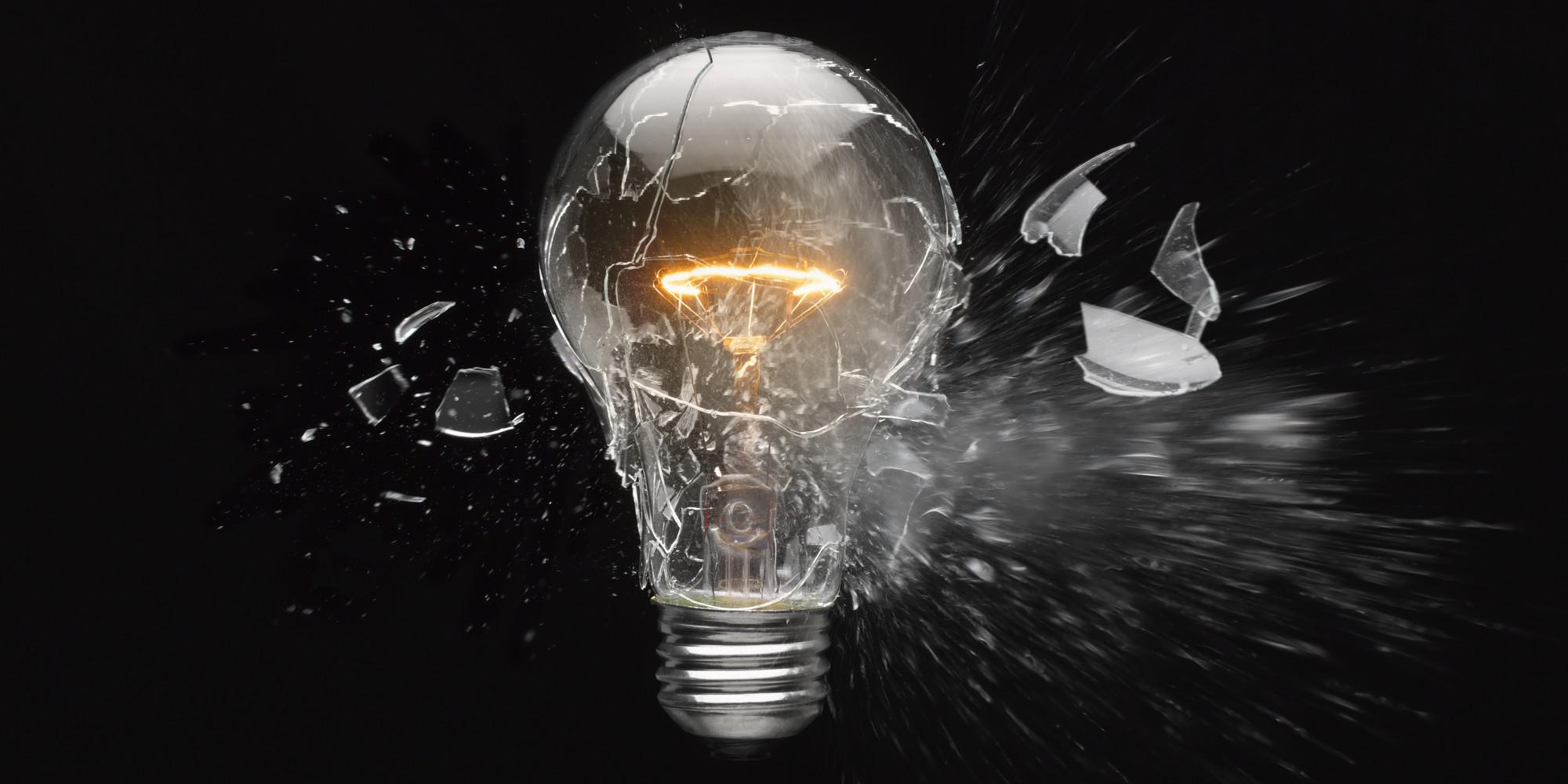 Shattered Lightbulb ( Public domain,Huffington Post)