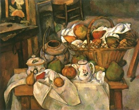 Notice the tilt toward the picture plane of some pots and the upward sweep of the floor. Trace with your eye the top of the table from left to right. The left side is closer. The right side is further away, as if the artist moved forward and backward and up and down while sketching and painting different sections. The large basket of fruit impossibly rests on the rear of the table.